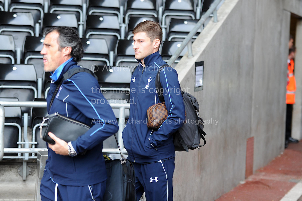 Tottenham player Ben Davies arrives off the team bus ahead of the game. Barclays premier league match, Swansea city v Tottenham Hotspur  at the Liberty Stadium  in Swansea, South Wales on Sunday 4th October 2015.<br /> pic by  Andrew Orchard, Andrew Orchard sports photography.
