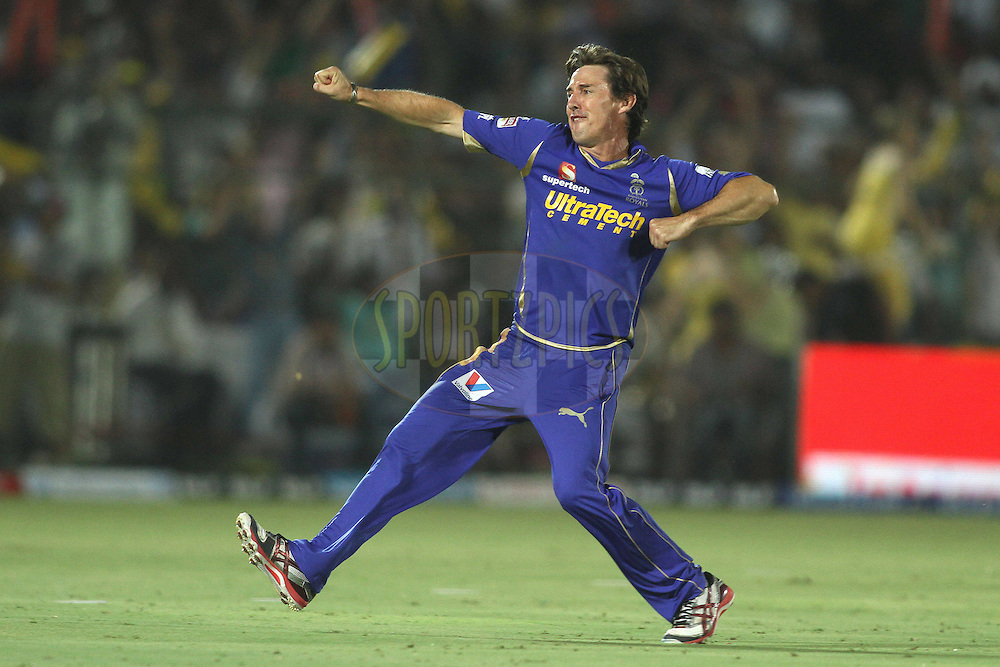Brad Hogg of the Rajasthan Royals celebrates Chris Gayle of the Royal Challengers Bangalore wicket during match 30 of the the Indian Premier League (IPL) 2012  between The Rajasthan Royals and the Royal Challengers Bangalore held at the Sawai Mansingh Stadium in Jaipur on the 23rd April 2012..Photo by Shaun Roy/IPL/SPORTZPICS