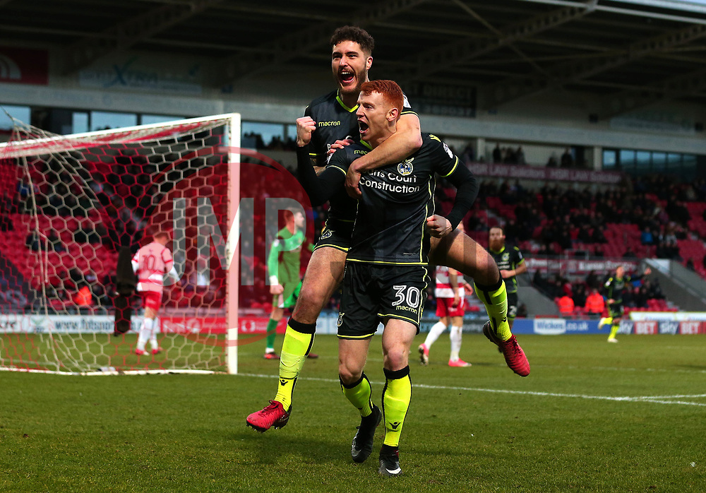 Rory Gaffney of Bristol Rovers celebrates with teammate Ryan Sweeney scoring a goal to make it 2-1 - Mandatory by-line: Robbie Stephenson/JMP - 27/01/2018 - FOOTBALL - The Keepmoat Stadium - Doncaster, England - Doncaster Rovers v Bristol Rovers - Sky Bet League One