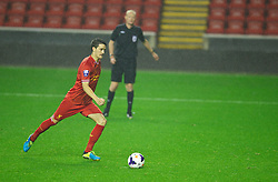 LIVERPOOL, ENGLAND - Tuesday, September 17, 2013: Liverpool's Luis Alberto scores goal five, and his hat-trick, goal, from the penalty spot against Sunderland during the Under 21 FA Premier League match at Anfield. (Pic by David Rawcliffe/Propaganda)