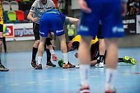 2019-04-23 | Jönköping, Sweden: During the qualifying game 4 to Swedish Handball League between IF Hallby HK and HIF Karlskrona at Idrottshuset ( Photo by: Marcus Vilson | Swe Press Photo )<br /> <br /> Keywords: Idrottshuset, Jönköping, Handball, Qualifying Game 4, IF Hallby HK, HIF Karlskrona, Sport