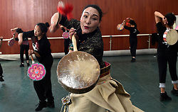 May 4, 2017 - Lhasa, Tibet - Zeji teaches Reba Dance at Tibet University in Lhasa, capital of southwest China's Tibet Autonomous Region. Zeji, born in 1969, was first attracted to Reba Dance at the age of 13. Over the years, she constantly studied and explored the dance, and also performed the dance in more than 10 countries. Called by people ''Reba Queen'', Zeji now puts all her energy in teaching and training young artists to pass down the tradition of Reba dance. (Credit Image: © Purbu Zhaxi/Xinhua via ZUMA Wire)