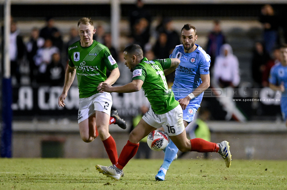 SYDNEY, AUSTRALIA - AUGUST 21: Marconi Stallions player Liam Youlley (16) tries to control the ball during the FFA Cup round of 16 soccer match between Marconi Stallions FC and Melbourne City FC on August 21, 2019 at Marconi Stadium in Sydney, Australia. (Photo by Speed Media/Icon Sportswire)