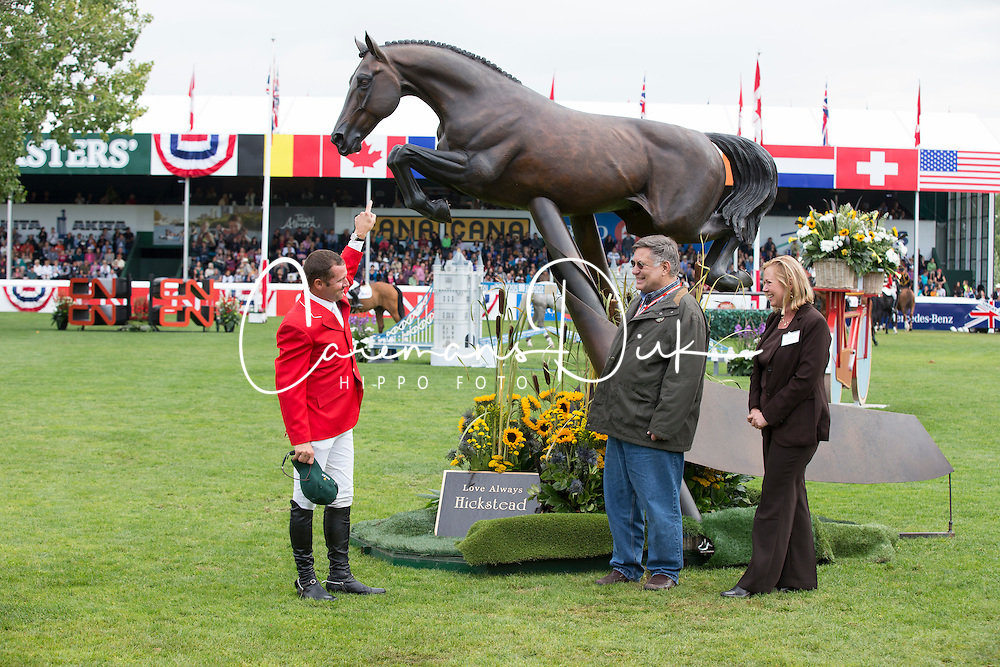 Hickstead bronze <br /> with Eric Lamaze and the owner John Fleischacker<br /> Spruce Meadows Masters - Calgary 2012<br /> &copy; Dirk Caremans