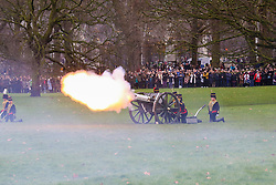 © Licensed to London News Pictures. 06/02/2019. London, UK. Members of the Kings Troop Royal Horse Artillery fire a 41-gun salute to mark the 67th anniversary of the Queen Elizabeth II's accession to the throne, in Green Park. Photo credit: Dinendra Haria/LNP