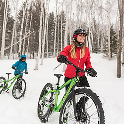 Winter fat tire biking in New Hampshire's White Mountains.