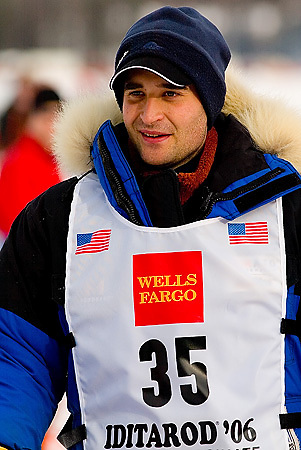 05 March 2006: Willow, Alaska - Bjornar Andersen of Oslo, Norway heads out to Nome during the restart of the 2006 Iditarod on Willow Lake in Willow, Alaska