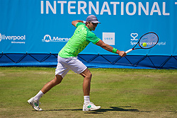 LIVERPOOL, ENGLAND - Saturday, June 17, 2017: Robert Kendrick (USA) during Day Three of the Liverpool Hope University International Tennis Tournament 2017 at the Liverpool Cricket Club. (Pic by David Rawcliffe/Propaganda)