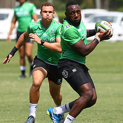 DURBAN, SOUTH AFRICA - FEBRUARY 12: Curwin Bosch with Tendai Beast Mtawarira during the Cell C Sharks training session at Growthpoint Kings Park on February 12, 2018 in Durban, South Africa. (Photo by Steve Haag/Gallo Images)
