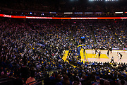 Houston Rockets guard James Harden (13) shoots a free throw against the Golden State Warriors at Oracle Arena in Oakland, Calif., on March 31, 2017. (Stan Olszewski/Special to S.F. Examiner)