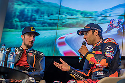 09.07.2019, Red Bull Ring, Spielberg, AUT, Marcel Hirscher mit MotoGP Bike am Red Bull Ring, Pressetermin, im Bild v.l.: Marcel Hirscher (AUT), Johann Zarco (FRA) Red Bull KTM Factory Racing // v.l.: Marcel Hirscher (AUT), Johann Zarco (FRA) Red Bull KTM Factory Racing during a press event Marcel Hirscher with MotoGP Bike on Red Bull Ring in Spielberg, Austria on 2019/07/09. EXPA Pictures © 2019, PhotoCredit: EXPA/ Dominik Angerer