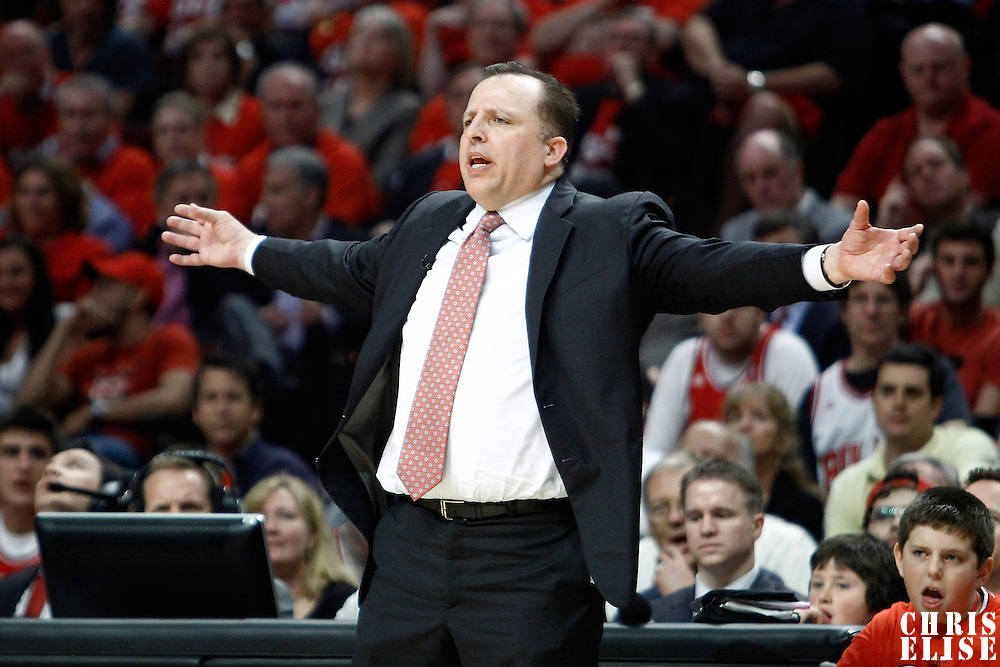 10 May 2011: Chicago Bulls head coach Tom Thibodeau is seen during the Chicago Bulls 95-83 victory over the Atlanta Hawks, during game 5 of the Eastern Conference semi finals at the United Center, Chicago, Illinois, USA.
