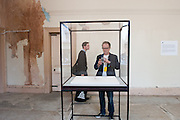 """Liverpool BIENNIAL 2014 at The Old Blind School - Artist Chris Evan's gold ring """"A Needle Walks into a Haystack"""""""