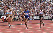 Jul 20, 2019; London, United Kingdom; Sherika Jackson (JAM), right, defeats Stephenie Ann McPherson (JAM), center, and Laviai Nielsen (GBR) to win the women's 400m in 50.69 during the London Anniversary Games at London Stadium at  Queen Elizabeth Olympic Park.