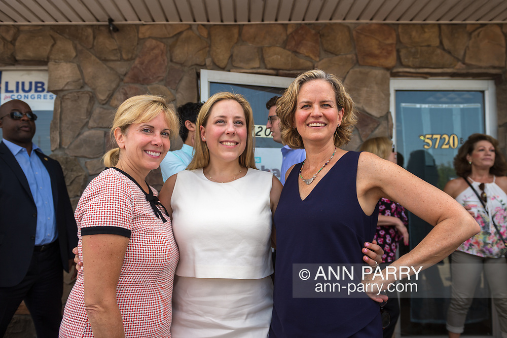 Massapequa, New York, USA. August 5, 2018. L-R, Democrats LAURA GILLEN, Hempstead Town Supervisor; LIUBA GRECHEN SHIRLEY, Congressional candidate for NY 2nd District; and LAURA CURRAN, Nasssau County Executive, pose at opening of campaign office, aiming for a Democratic Blue Wave in November midterm elections.