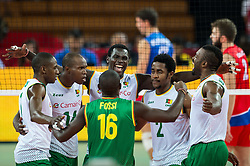 07.09.2014, Centennial Hall, Breslau, POL, FIVB WM, Serbien vs Kamerun, Gruppe A, im Bild Kamerun radosc // Cameroon gladness // during the FIVB Volleyball Men's World Championships Pool A Match beween Serbia and Cameroon at the Centennial Hall in Breslau, Poland on 2014/09/07. <br /> <br /> ***NETHERLANDS ONLY***