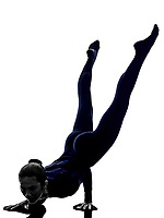 woman exercising Mayurasana peacock pose yoga silhouette shadow white background