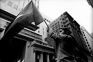 Young Paletinian girl waving the flag of Palestine during the protest outside Israeli Consulate, San Francisco, 2002