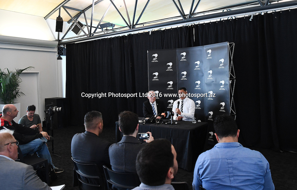 NZRL CEO Alex Hayton and David Kidwell as Kidwell is announced as head coach of the New Zealand Kiwis Rugby League team. Auckland, New Zealand. Friday 16 September 2016. © Copyright Photo: Andrew Cornaga / www.Photosport.nz