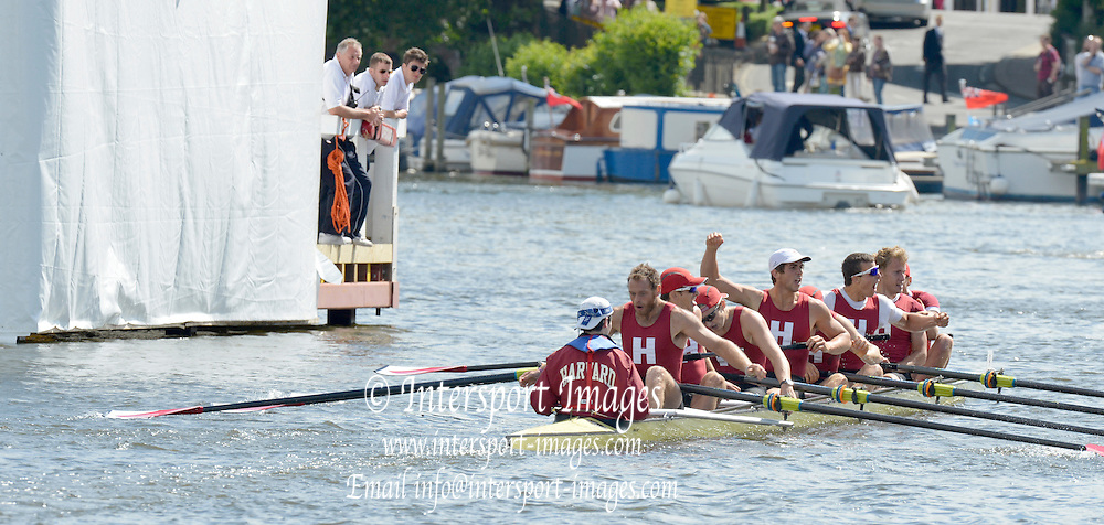 Henley, GREAT BRITAIN. Ladies Challenge Plate. Harvard university Celebrate after winning the final, from Leander club, on the line, verdict One foot at 2012 Henley Royal Regatta...Sunday  16:16:14  01/07/2012. [Mandatory Credit, Peter Spurrier/Intersport-images]...Rowing Courses, Henley Reach, Henley, ENGLAND . HRR.