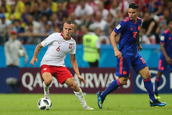 June 24, 2018 - Kazan, Russia - Jacek Goralski of Poland vies Mateus Uribe of Colombia during the Russia 2018 World Cup Group H football match between Poland and Colombia at the Kazan Arena in Kazan on June 24, 2018. Colombia won 0-3. (Credit Image: © Foto Olimpik/NurPhoto via ZUMA Press)