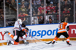 during NHL game between teams Chicago Blackhawks and Philadelphia Flyers at NHL Global Series in Prague, O2 arena on 4th of October 2019, Prague, Czech Republic. Photo by Grega Valancic / Sportida