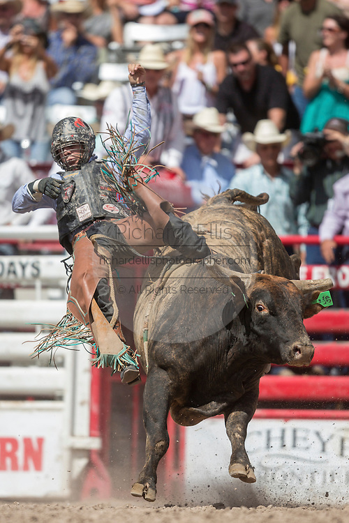 Bull rider Sage Kimzey of Strong City, Oklahoma is thrown from Lit Em Up at the Cheyenne Frontier Days rodeo at Frontier Park Arena July 24, 2015 in Cheyenne, Wyoming. Frontier Days celebrates the cowboy traditions of the west with a rodeo, parade and fair.