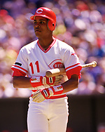 CINCINNATI - 1988: Barry Larkin of the Cincinnati Reds bats in an MLB game at Riverfront Stadium in Cincinnati, Ohio during the 1987 season.  (Photo by Ron Vesely/MLB Photos via Getty Images)  *** Local Caption *** Barry Larkin