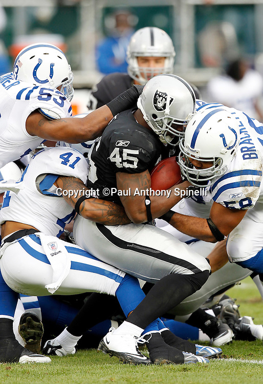 Oakland Raiders running back Marcel Reece (45) gets gang tackled Indianapolis Colts linebacker Gary Brackett (58), Indianapolis Colts safety Antoine Bethea (41), and Indianapolis Colts linebacker Kavell Conner (53) on a second quarter run good for a first down during the NFL week 16 football game against the Indianapolis Colts on Sunday, December 26, 2010 in Oakland, California. The Colts won the game 31-26. (©Paul Anthony Spinelli)