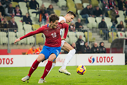 November 15, 2018 - Gdansk, Pomorze, Poland - Patrik Schick (19) Jan Bednarek (5) during the international friendly soccer match between Poland and Czech Republic at Energa Stadium in Gdansk, Poland on 15 November 2018  (Credit Image: © Mateusz Wlodarczyk/NurPhoto via ZUMA Press)