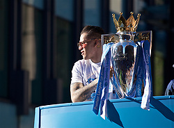 MANCHESTER, ENGLAND - Monday, May 20, 2019: Manchester City's goalkeeper Ederson Moraes with the Premier League trophy on an open-top bus as they parade through the city after winning a domestic treble of FA Premier League, Football League Cup and FA Cup trophies. (Pic by David Rawcliffe/Propaganda)