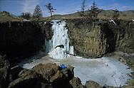 Mongolia.. frozen water fall of the Orkhon valley in winter  arkhangai province  Mongolia / les chutes d'eau de la vallee de l'Orkhon en hiver  arkangai province  Mongolie