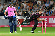 Tom Abell of Somerset bowling during the Vitality T20 Blast South Group match between Somerset County Cricket Club and Middlesex County Cricket Club at the Cooper Associates County Ground, Taunton, United Kingdom on 30 August 2019.