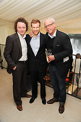 Left to right, chefs TOM KITCHEN, TOM AIKENS and JOHN BURTON RACE at a party to celebrate The Waterside Inn's 25 years as a 3 star Michelin restaurant held at The Waterside Inn, Bray, Berkshire on 18th May 2010.