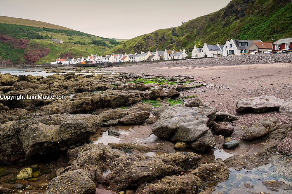View of small fishing  village of Pennan on Aberdeenshire coast in Scotland