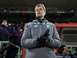 LIVERPOOL, ENGLAND - Thursday, December 10, 2015: Liverpool's manager Jürgen Klopp before the UEFA Europa League Group Stage Group B match against FC Sion at Stade de Tourbillon. (Pic by David Rawcliffe/Propaganda)