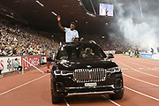 Noah Lyles (USA) takes victory lap with the IAAF Diamond League championship trophy after winning the 100m in 9.98 during the Weltkasse Zurich at Letzigrund Stadium, Thursday, Aug. 29, 2019, in Zurich, Switzerland. (Jiro Mochizuki/Image of Sport)