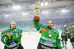 Tomaz Trelc Olimpija and Olivier Roy of Olimpija celebrate after became Slovenian National Champion 2016 after winning during ice hockey match between HDD Telemach Olimpija and HDD SIJ Acroni Jesenice in Final of Slovenian League 2015/16, on April 11, 2016 in Hala Tivoli, Ljubljana, Slovenia. Photo by Vid Ponikvar / Sportida