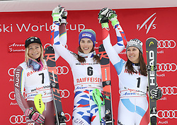 28.01.2018, Lenzerheide, SUI, FIS Weltcup Ski Alpin, Lenzerheide, Slalom, Damen, Siegerehrung, im Bild Die Siegerinnen von links: Frida Hansdotter (SWE), Petra Vlhova (SVK), Wendy Holdener (SUI) // Frida Hansdotter of Sweden Petra Vlhova of Slovakia Wendy Holdener of Switzerland during the winner Ceremony for the ladie's Slalom of FIS Ski Alpine World Cup in Lenzerheide, Austria on 2018/01/28. EXPA Pictures © 2018, PhotoCredit: EXPA/ Sammy Minkoff<br /> <br /> *****ATTENTION - OUT of GER*****