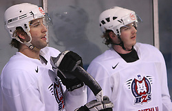 Anze Terlikar and Rok Pajic at practice of Slovenian national team at Hockey IIHF WC 2008 in Halifax,  on May 01, 2008 in Forum Centre, Halifax, Canada.  (Photo by Vid Ponikvar / Sportal Images)