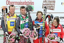 29.01.2011, Grasgehren Lifte, Grasgehren, GER, FIS Skicross World Cup, Grasgehren, im Bild Podium, 2. Platz, Patrick KOLLER (AUT), Sieger, Andreas MATT (AUT), 3. Platz, Armin NIEDERER (SUI) und 4. Platz Conradign NETZER (SUI) // Podium, 2nd place, Patrick KOLLER (AUT), winner, Andreas MATT (AUT) 3rd place, Armin NIEDERER (SUI) and Conradign NETZER (SUI) during FIS Skicross World Cup in Grasgehren, Germany, EXPA Pictures © 2011, PhotoCredit: EXPA/ S. Kiesewetter