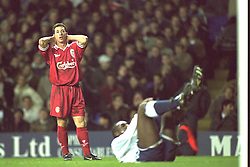 London, England - Monday, December 2, 1996: Liverpool's Robbie Fowler and Tottenham Hotspur's Sol Campbell during the Premier League match at White Hart Lane. (Pic by David Rawcliffe/Propaganda)