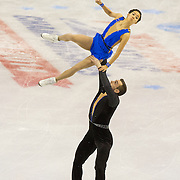 DeeDee Leng and Timothy LeDuc compete in the championships pairs short program at the 2014 US Figure Skating Championships at TD Garden in Boston, MA, on January 9, 2014.