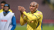 Barry Hayles (Chesham) applauds the Bradford fans as he walks off during the The FA Cup match between Bradford City and Chesham FC at the Coral Windows Stadium, Bradford, England on 6 December 2015. Photo by Mark P Doherty.