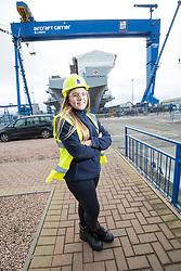 Modern Apprentice Tiegan Duff, at the aircraft carrier HMS Prince of Wales at Babcock, Roysth.