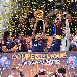 Kylian Mbappe of PSG  lifts the trophy after his team wins the Final of the French League Cup between Paris Saint Germain (PSG) and AS Monaco on March 31, 2018 in Bordeaux, France. (Photo by Dave Winter/Icon Sport)