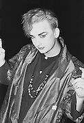 Boy George in London, photographed  at the peak of Culture Club's success during the 1980s. This image was created on black & white film. . An instant sale option is available where a price can be agreed on image useage size. Please contact me if this option is preferred.