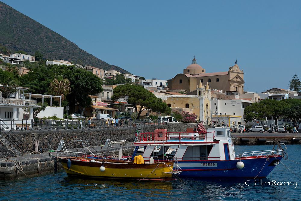 Colourful wooden boats in Santa Marino, Salina Island, The Aeolian Islands, Messina, Sicily, Italy