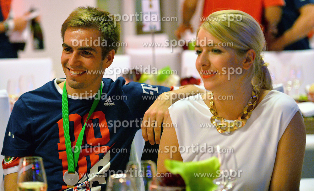 17.05.2014, T Com, Berlin, GER, DFB Pokal, Bayern Muenchen Pokalfeier, im Bild Phillip Lahm and Claudia Lahm Phillip Lahm, Claudia Lahm, // during the FC Bayern Munich &quot;DFB Pokal&quot; Championsparty at the T Com in Berlin, Germany on 2014/05/17. EXPA Pictures &copy; 2014, PhotoCredit: EXPA/ Eibner-Pressefoto/ EIBNER<br /> <br /> *****ATTENTION - OUT of GER*****