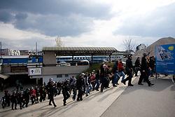 Viole, fans of Maribor at Ljubljana's train station before football match of 31st Round of 1st Slovenian League  between NK Olimpija and NK Maribor, on April 16, 2010, in ZAK Stadium, Ljubljana, Slovenia. (Photo by Vid Ponikvar / Sportida)